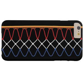 Aro de baloncesto Net_red, blanco y blue_patriotic Funda De iPhone 6 Plus Barely There
