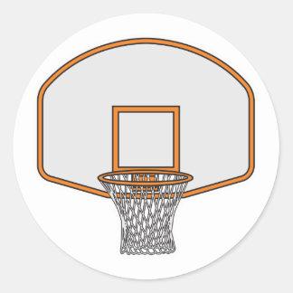aro de baloncesto pegatina redonda