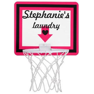 Aro de baloncesto rosado y negro personalizado del canastas mini