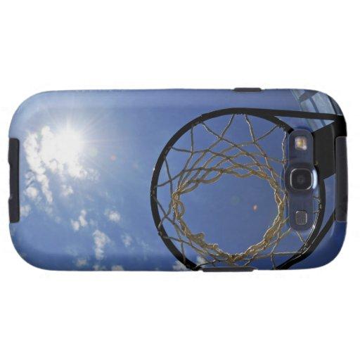 Aro de baloncesto y el Sun, contra el cielo azul Galaxy SIII Fundas