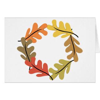 Aro de las hojas de otoño felicitación