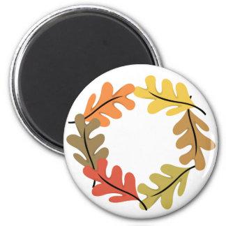 Aro de las hojas de otoño imán redondo 5 cm