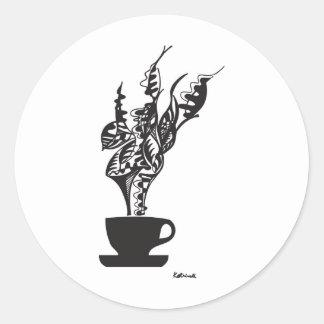 Aroma del café. ¡Sabor agradable! Pegatina Redonda