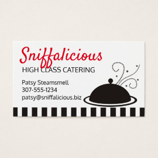 Aromas food platter chef catering business card
