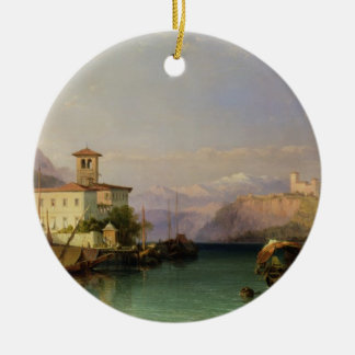 Arona and the Castle of Angera, Lake Maggiore, 185 Double-Sided Ceramic Round Christmas Ornament