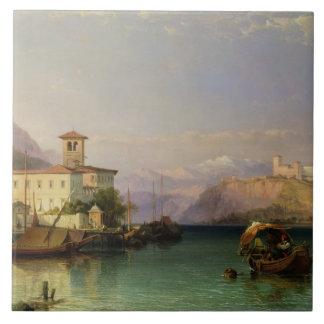 Arona y el castillo de Angera, lago Maggiore, 185 Azulejo Cuadrado Grande
