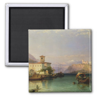 Arona y el castillo de Angera, lago Maggiore, 185 Imán Cuadrado