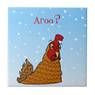 Aroo Funny Chicken Lover Christmas or Winter Snow Ceramic Tile