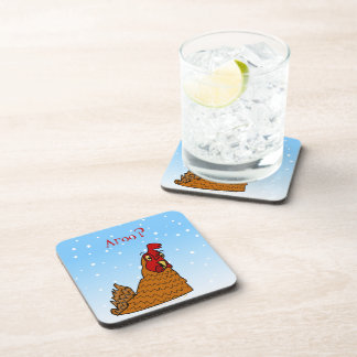 Aroo Funny Chicken Lover Christmas or Winter Snow Drink Coaster
