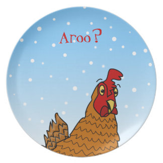 Aroo Funny Chicken Lover Christmas or Winter Snow Melamine Plate