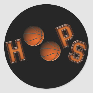 Aros de baloncesto pegatina redonda