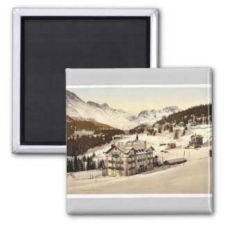 Arosa, in winter, Grisons, Switzerland vintage Pho 2 Inch Square Magnet