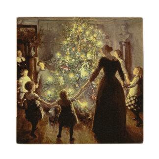 Around the Christmas Tree Wood Coaster