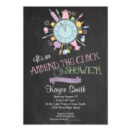 Around the clock invitations announcements zazzle around the clock bridal shower invitation filmwisefo Images