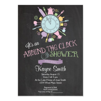 "Around the Clock Bridal Shower Invitation 5"" X 7"" Invitation Card"