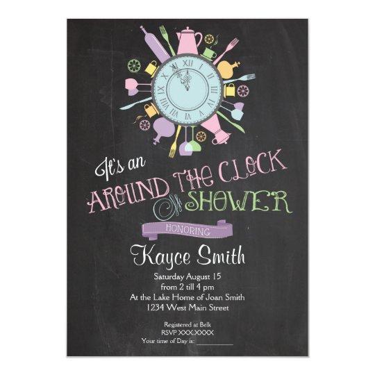 Around The Clock Bridal Shower Invitation Zazzle Com