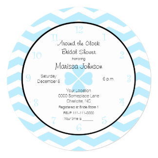 Around the Clock Bridal Shower Invitation in Blue