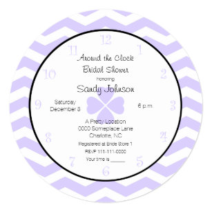 Around the clock invitations announcements zazzle around the clock bridal shower invitation lavender filmwisefo