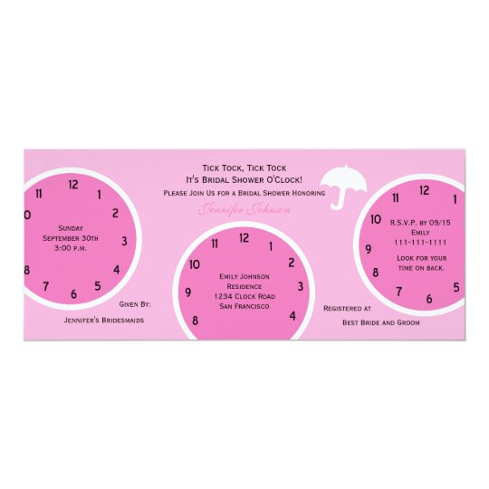 Around The Clock Bridal Shower Invitation Pink Zazzle Com