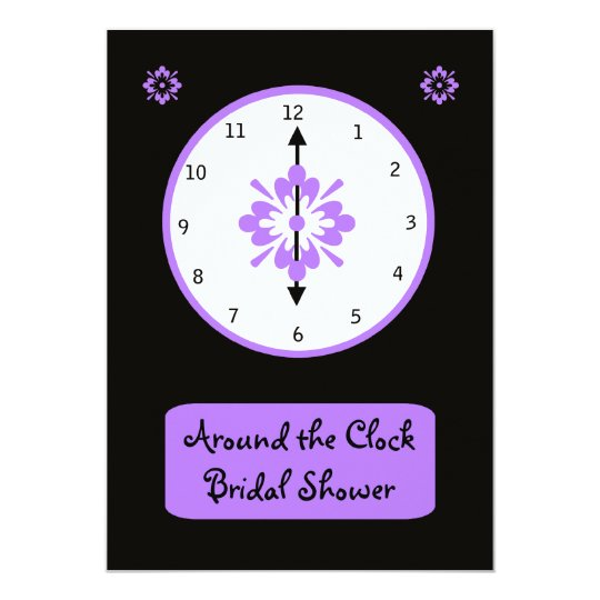 Around The Clock Bridal Shower Invitation Violet