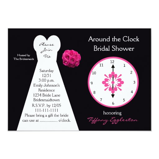 "Around the Clock Bridal Shower Invitations 5"" X 7"" Invitation Card"