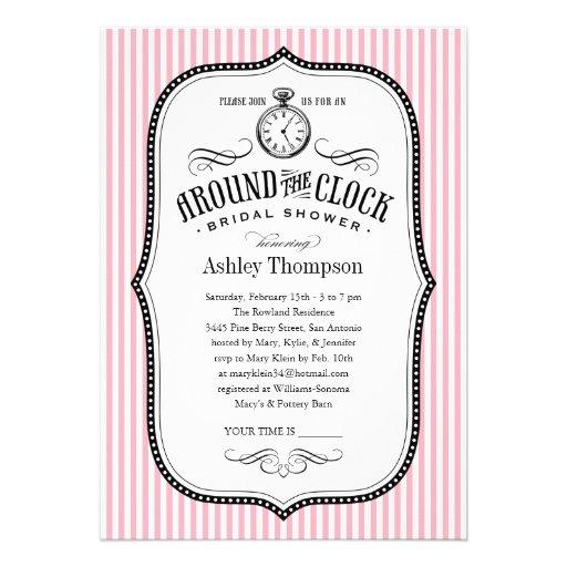 Personalized Around the clock wedding shower Invitations – Around the Clock Wedding Shower Invitations