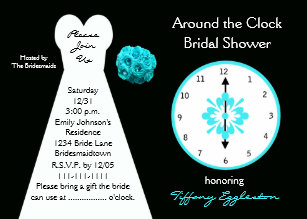 Around the clock bridal shower invitations zazzle around the clock bridal shower invitations filmwisefo