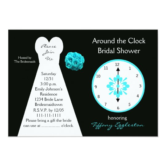 around the clock bridal shower invitations zazzle With around the clock wedding shower