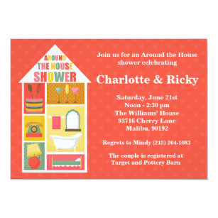 around the house couple wedding shower invitation