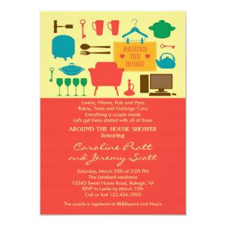 "Around The House Couple's Bridal Shower Invitation 5"" X 7"" Invitation Card"