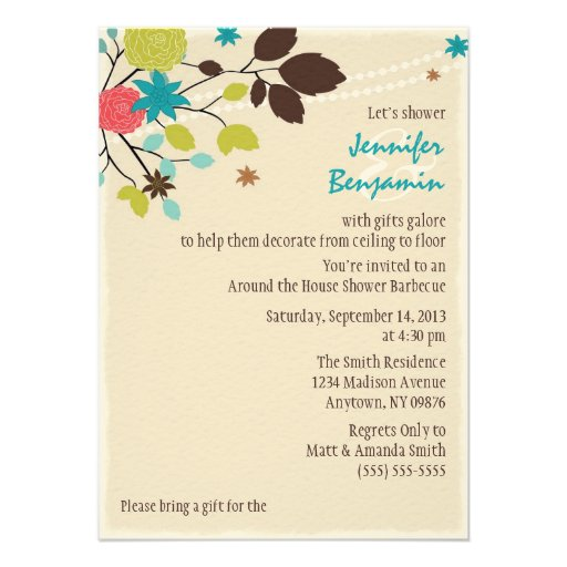 Around the house couples wedding shower invitation 4 5 x for Wedding couples shower invitations