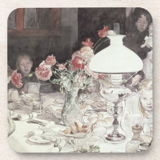 Around the Lamp at Evening, 1900 (w/c on paper) Beverage Coaster