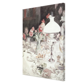 Around the Lamp at Evening, 1900 (w/c on paper) Gallery Wrap Canvas