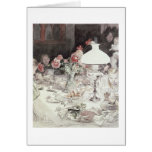 Around the Lamp at Evening, 1900 (w/c on paper) Greeting Cards