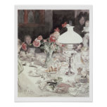 Around the Lamp at Evening, 1900 (w/c on paper) Poster
