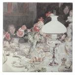 Around the Lamp at Evening, 1900 (w/c on paper) Ceramic Tiles