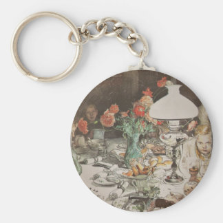 Around the Lamp at Mealtime Basic Round Button Keychain