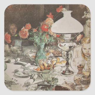 Around the Lamp at Mealtime Square Sticker