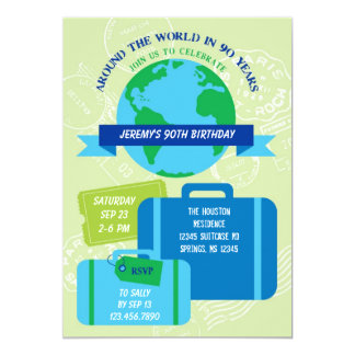 Around The World 90th Birthday Invitation