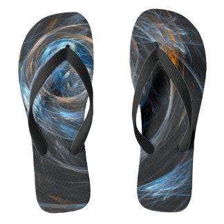 Around the World Abstract Art Flip Flops