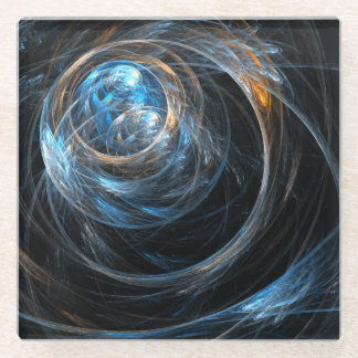 Around the World Abstract Art Glass Coaster