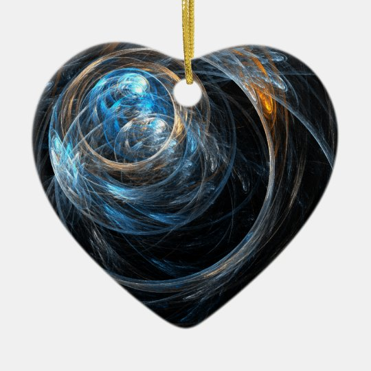 Around the World Abstract Art Heart Ornament