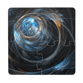 Around the World Abstract Art Puzzle Coaster