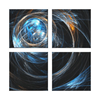 Around the World Abstract Art Quad Canvas Print