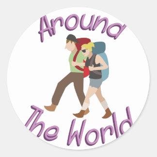 Around the World Classic Round Sticker