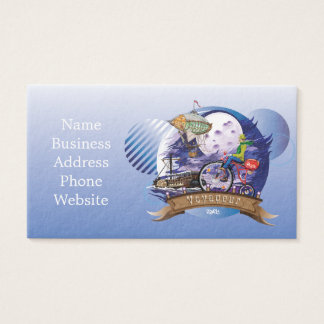 Around The World Colorful Poster Illustration Business Card
