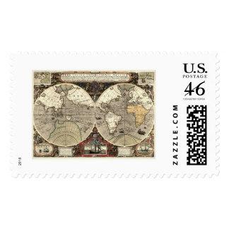 Around the World Drake Map - 1595 Postage