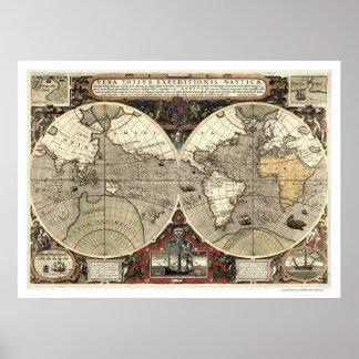 Around the World Drake Map - 1595 Print