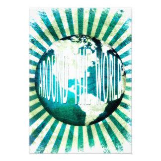 around the world globe burst custom invite