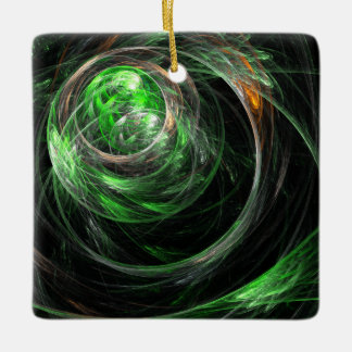 Around the World Green Abstract Ar Square Ornament